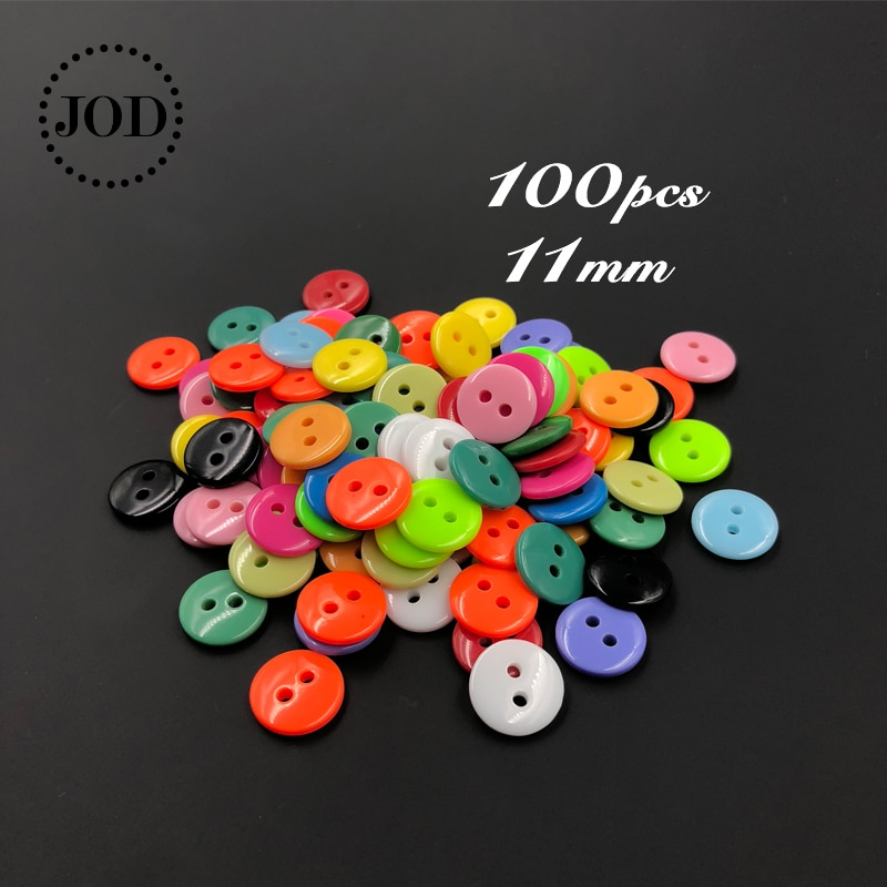 Surtido de botones diminutos de resina redonda de 11mm 100 Uds., herramientas de costura, minibotón decorativo para álbum de recortes, accesorios para ropa DIY, JODb