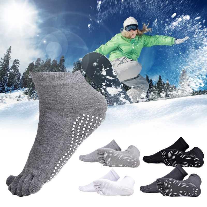 Outdoor Sports Fitness Socks Five-toe Anti-skid Breathable Climbing Camping Hiking Running Cycling Yoga Men Socks Black Gray