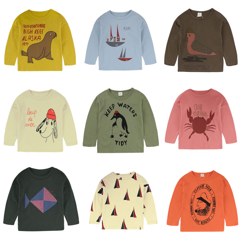 Camiseta Top para niño, camiseta estampada para niños, camiseta para niños primavera Otoño, Camiseta de algodón de manga larga para niñas, camisetas de dibujos animados para bebés