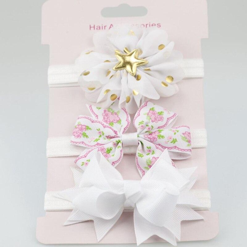 3 шт./лот, эластичные повязки на голову с цветами для маленьких девочек, аксессуары для волос, нейлоновые банты для маленьких девочек, блестящая резинка для волос