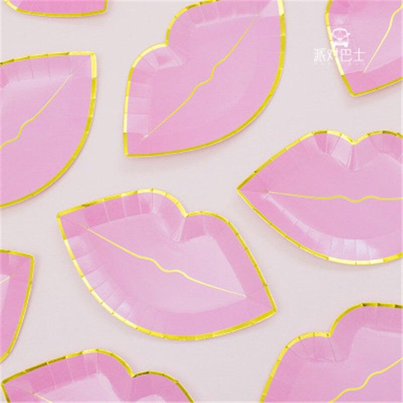 Set de pajitas desechables de papel dorado para fiesta de amor, bandeja para labios y vasos, Decoración de mesa de boda/cumpleaños/suministros para fiestas