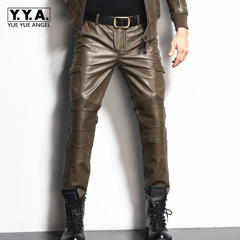 بنطلون رجالي من الجلد الطبيعي المستقيم ، نحيف ، طويل ، جيوب ، موضة ، بنطلون دراجة نارية ، مقاس كبير 29-36 ، 2021