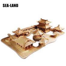 Jouet pour enfants de Puzzle en bois 3D les jardins classiques de Suzhou un jouet pour enfants bricolage aussi pour adulte un bon cadeau de bois de haute qualité