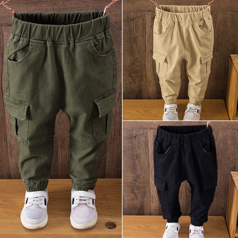 Pantalones para chicos populares INS de 3 a 11 años, pantalones cargo con bolsillos grandes, pantalones de primavera y otoño para niños salvajes, pantalones cómodos de algodón
