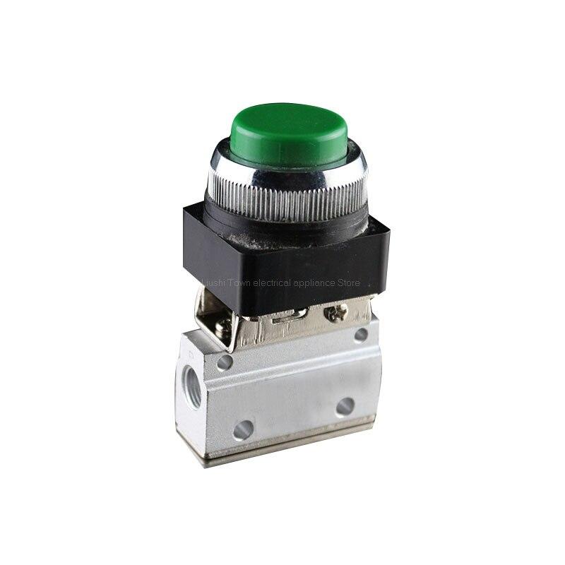 """Válvula neumática momentánea de 1/8 """"PT Thread 2 posiciones 3 vías de alto botón verde MOV-321PPL válvula mecánica"""