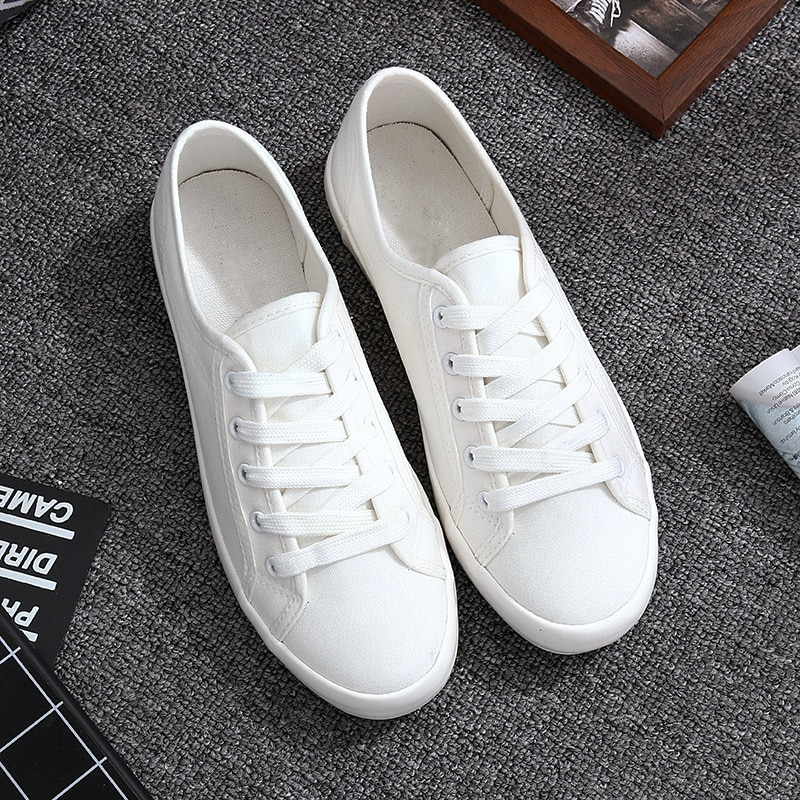 Classic White Sneakers Women Casual Canvas Shoes Female Summer Lace-Up Flat Trainers Fashion Zapatillas Mujer Vulcanize