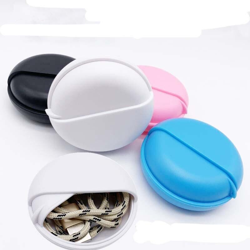 Rotativa capa redonda fio fone de ouvido caixa organizador linha dados cabos caixa armazenamento recipiente plástico jóias fone de ouvido medecine caixa