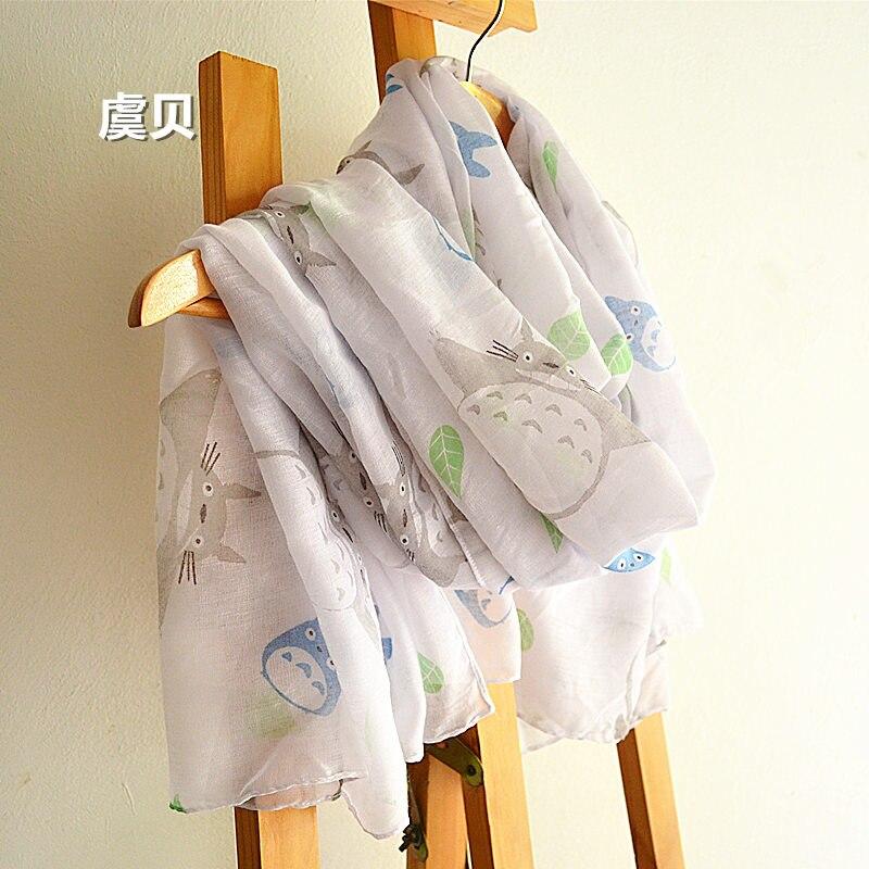 Estilo japonés dibujo de totoro bonito bufandas blancas Mujer Primavera Verano otoño playa capa con filtro solar bufanda larga chal regalo para niñas