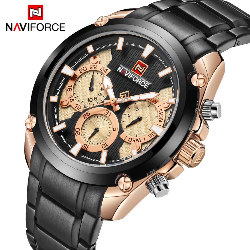 NAVIFORCE, reloj de pulsera de cuarzo de moda para hombres, reloj deportivo militar de acero inoxidable resistente al agua, reloj Masculino