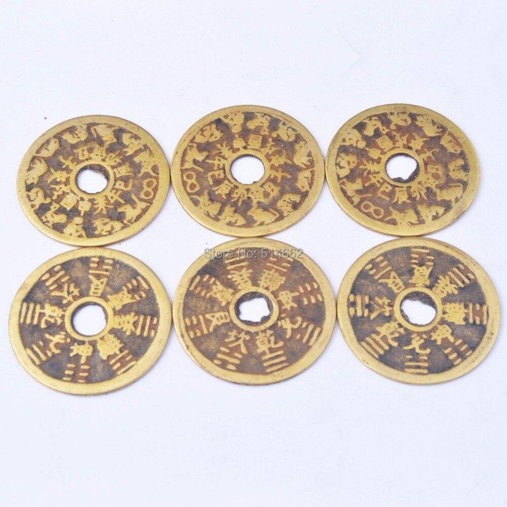 6 pcs Chinês Amuletos-feng Shui Bagua Tai Sui Coin SKU Y1021