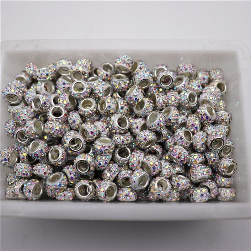 Lote de 20 cuentas espaciadoras de diamantes de imitación de cristal con agujero grande de 5mm para pulseras pandora DIY