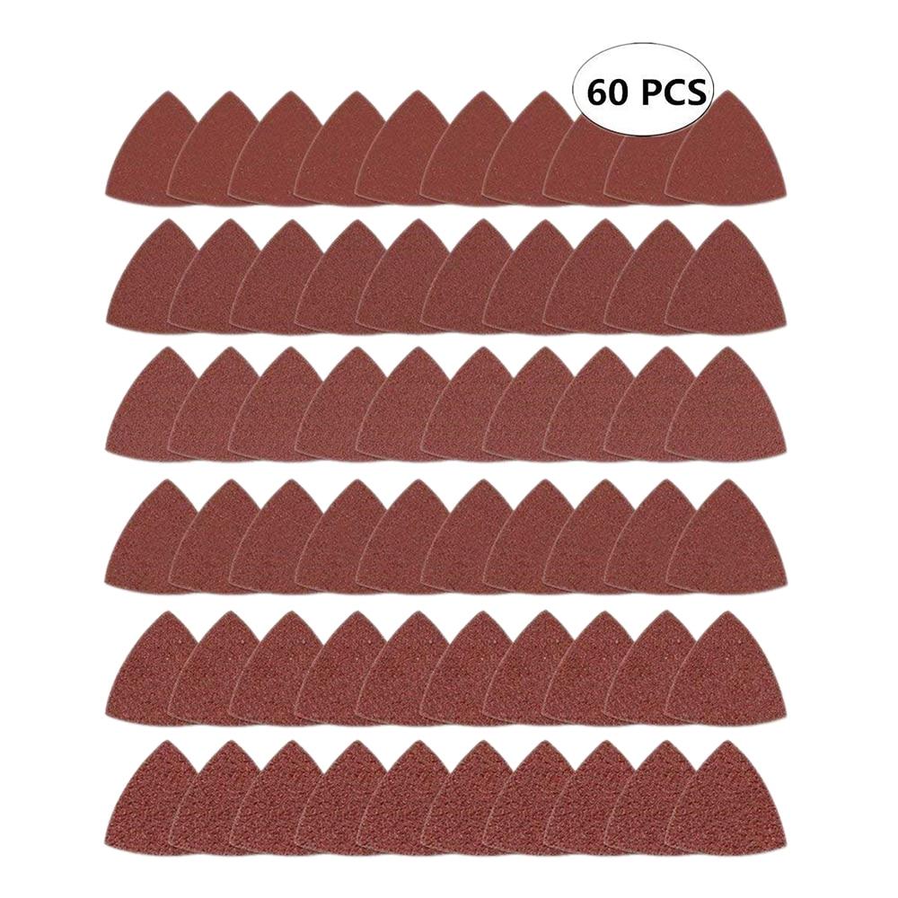 60 шт треугольный крюк и петля треугольник-наждачная бумага, подходит для 3-1/8 дюймов Осциллирующий мульти инструмент шлифовальный коврик, Ассорти 40 60 80 100 120