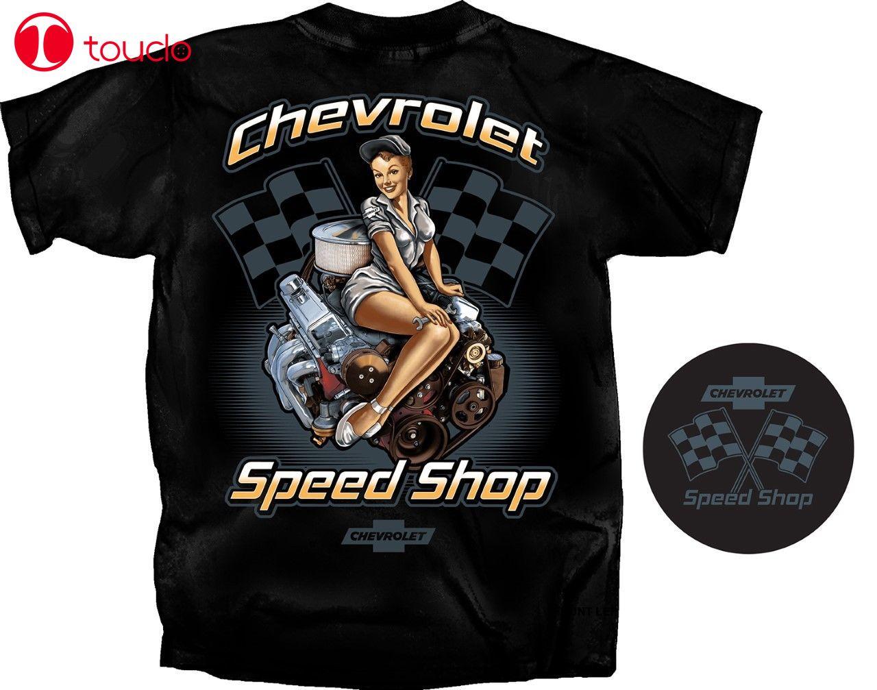 2019 camiseta fresca de verano Chevrolet Speed Shop Pin-Up camiseta negra banderas de carrera pequeño bloque motor camiseta con capucha