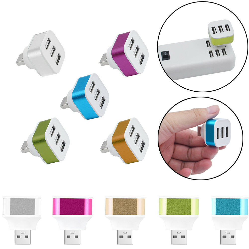Adaptador giratorio de alta velocidad de 3 puertos USB HUB 2,0 USB Mini Splitter para Notebook/Tablet PC expansión de periféricos