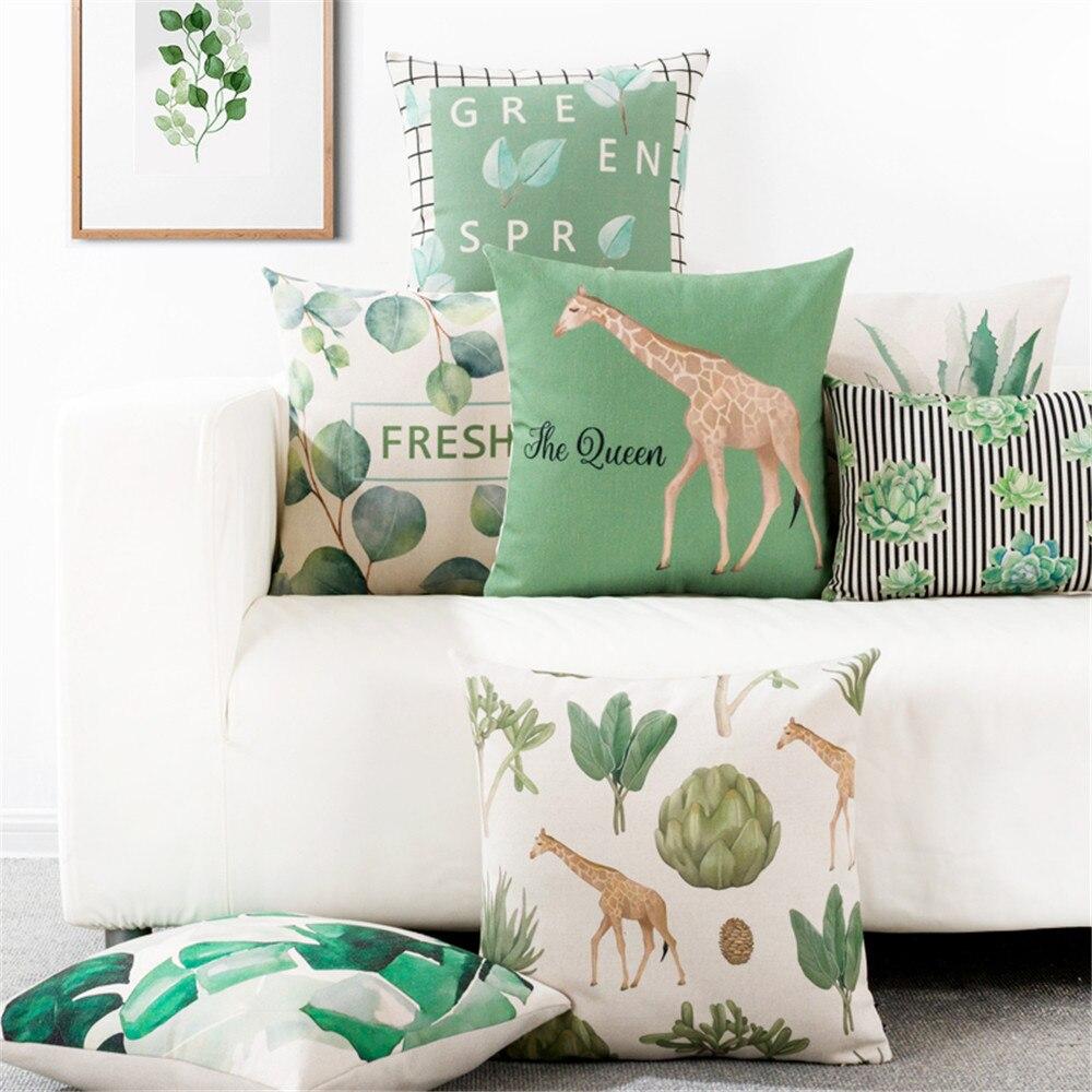 Estilo nórdico simple animal flor hoja jirafa lumbar cojín para coche cubierta sofá de oficina almohada cama respaldo funda de almohada
