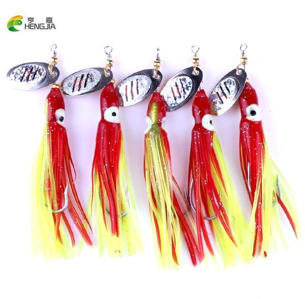HENGJIA, 10 Uds., 7,5g, señuelo de calamar Artificial, Spinner de Metal, Señuelos de Pesca, ojo grande, pulpo, señuelo suave, cebo para pesca en el mar, río