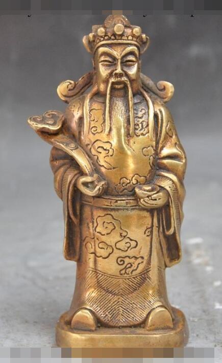 """Envío libre S00549 6 """"chinese folk bronce dorado yuanbao ruyi feliz riqueza Mammon dios estatua de buda"""