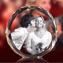 Cadre de Fotos en cristal gravé au Laser   2D, cadre rond K9 pour Album Photo de famille, de mariage, de la saint-valentin, cadres Photo, cadeau danniversaire, diy