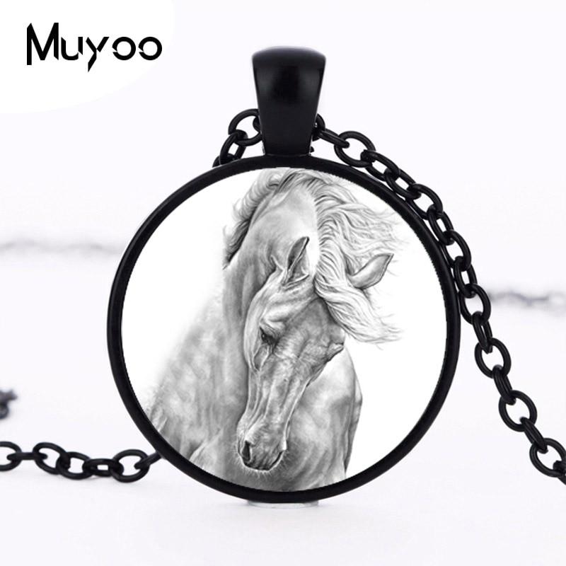 Новая черная и белая лошадь подвеска ожерелье ювелирные изделия круглый стеклянный кабошон Лошадь ожерелье оптовая торговля HZ1