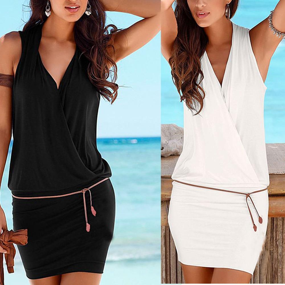 Women Deep V Neck Sleeveless Slim Fit Pullover Beach with Belt for Summer H9