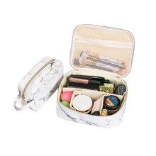 PU Marmorierung Kosmetik Organisatoren Make-Up Box Reise Pinsel Lippenstift Halter Toiletry Kit Schönheit Fall Bad Lagerung Zubehör