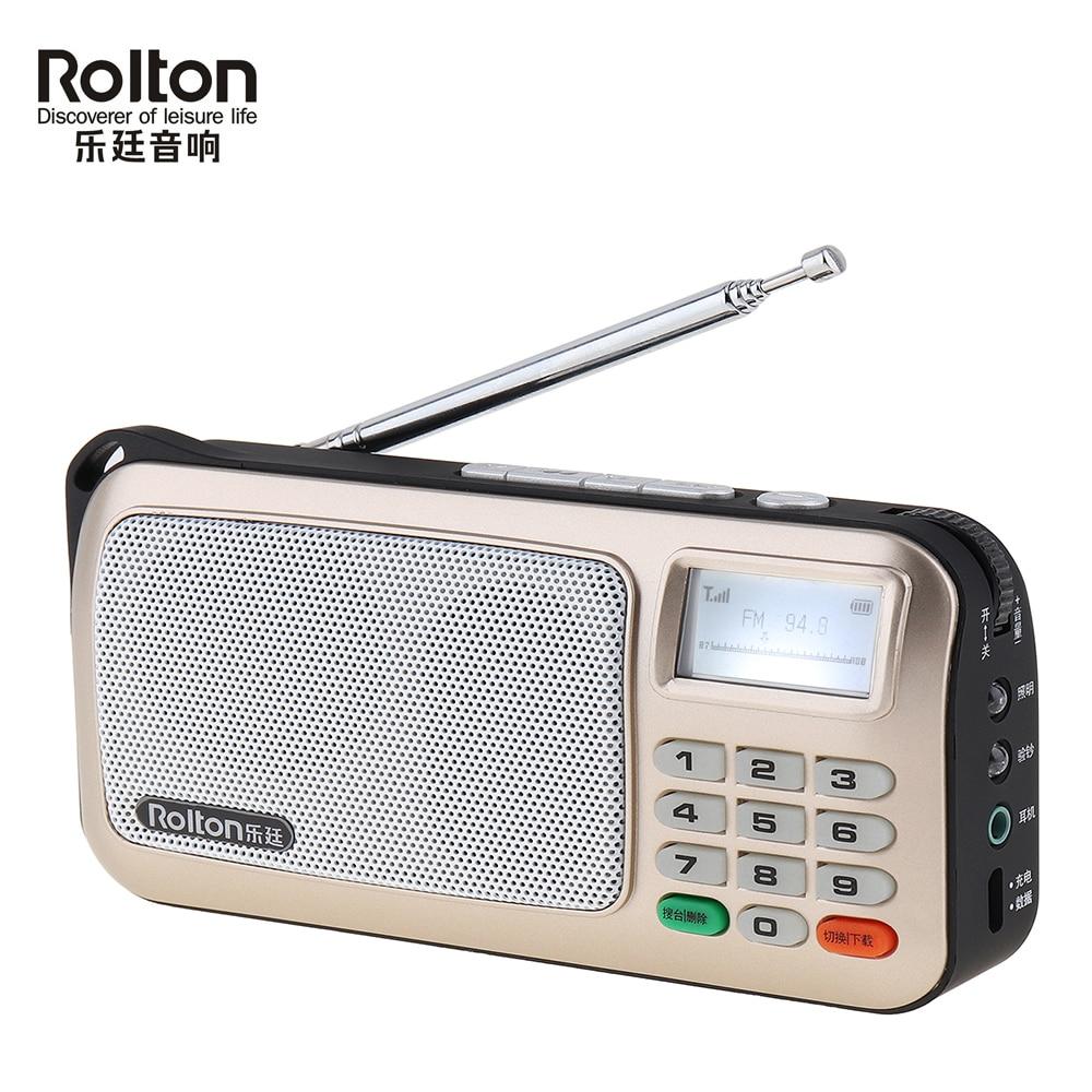 Rolton W505 Mini Radio portátil de mano Digital FM USB TF reproductor de MP3 altavoz con pantalla LED Subwoofer reproductor de MP3/lámpara de antorcha