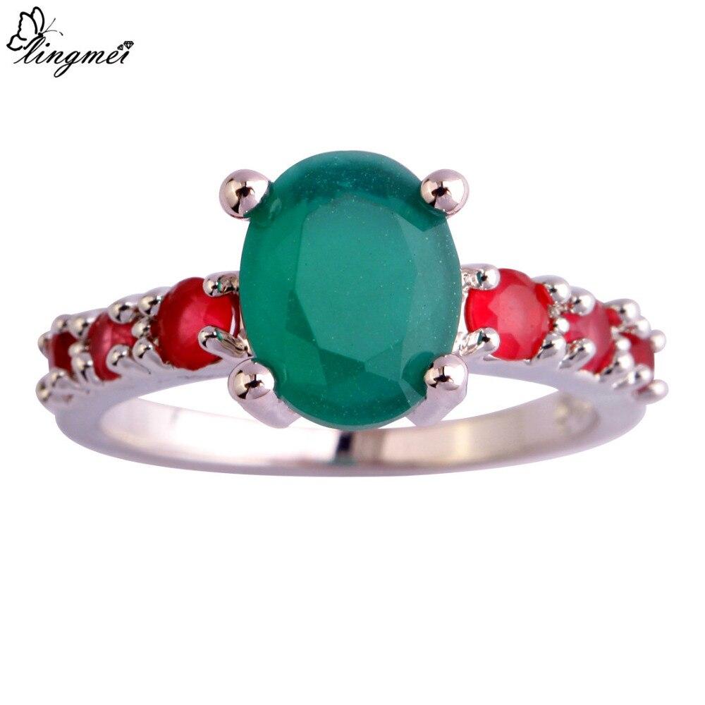 Lingmei hurtownia New Arrival zielony i czerwony CZ srebrny kolor rozmiar 6-9 10 11 12 13 moda Vogue prosta biżuteria Party