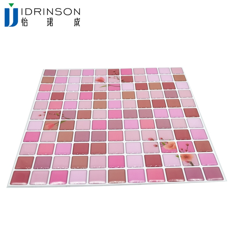 "3D Mosaic Wall Stickers Decor Kitchen Bathroom Tiles Home 9.3""x9.3"" Wall Brick Peel Sticker Decals Easy Best Flower Waterproof"