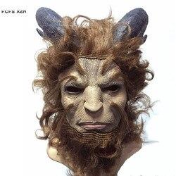 Beauty and the Beast filme Príncipe Adam Cosplay Máscara Máscara de Látex Horror Adereços da festa de Purim Carnaval Helmet Halloween Traje Mascarado