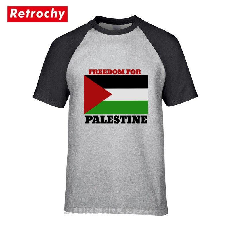 Na całej powierzchni T-Shirt na co dzień w stylu Vintage darmowa flaga palestyny T Shirt koszulki mężczyźni Tshirt bawełna Crewneck z 3XL hip hop styl Top koszulki