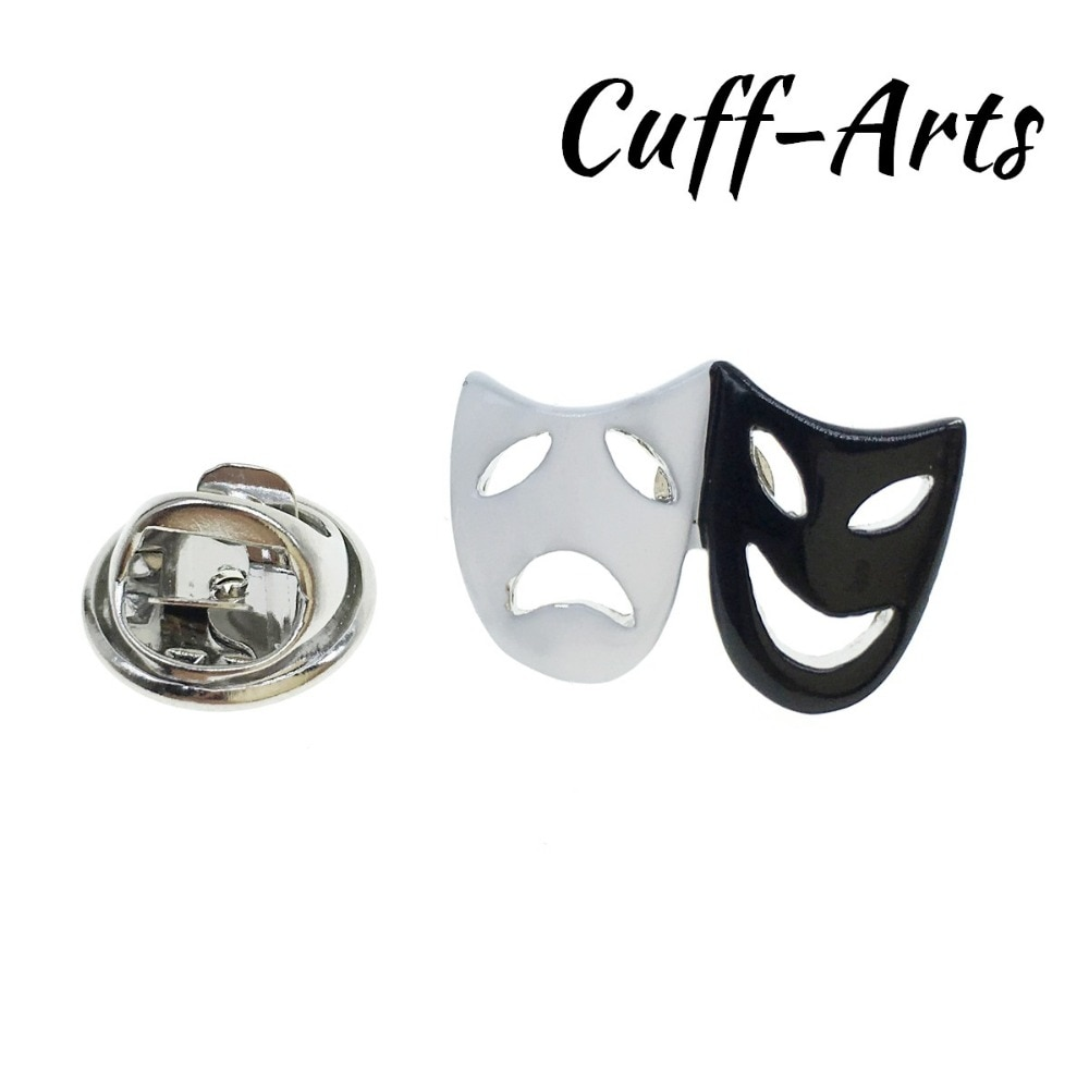 Запонки, нагрудные штыри, черные, белые, комедии, театральные маски, нагрудные штыри, брошка, эмалированная заколка, P10081
