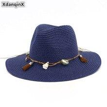 Sombrero De Paja XdanqinX De verano para mujeres adultas, gorros transpirables para el sol, Sombrero De playa decorativo para mujeres, Sombrero De Jazz, Sombrero De Paja