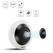 TMEZON-caméra de sécurité IP 5.0 mégapixels   Caméra de Surveillance panoramique VR 360 degrés avec Vision nocturne IR, détection de mouvements