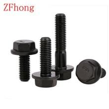 DIN6921 en acier M8 10 pièces/lot   Avec boulons à bride hexagonale 10.9 de qualité noire M8 * 20/25/30/35/40