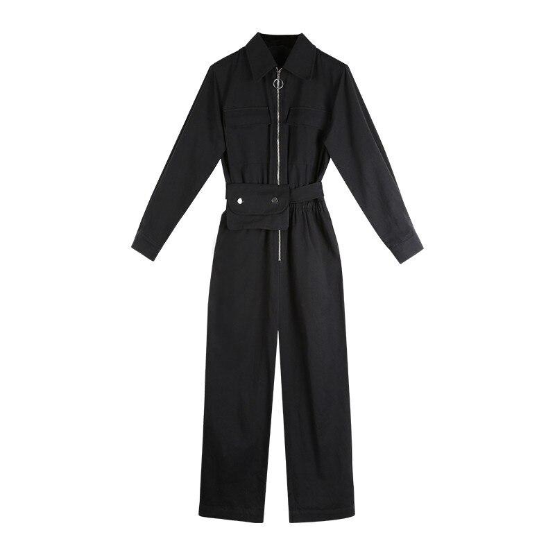 بدلة رومبر نسائية أنيقة بأكمام طويلة نمط سفاري أسود صيفي أنثوي 2021 فضفاضة كاجول BF ملابس خروج Sahses WJ50