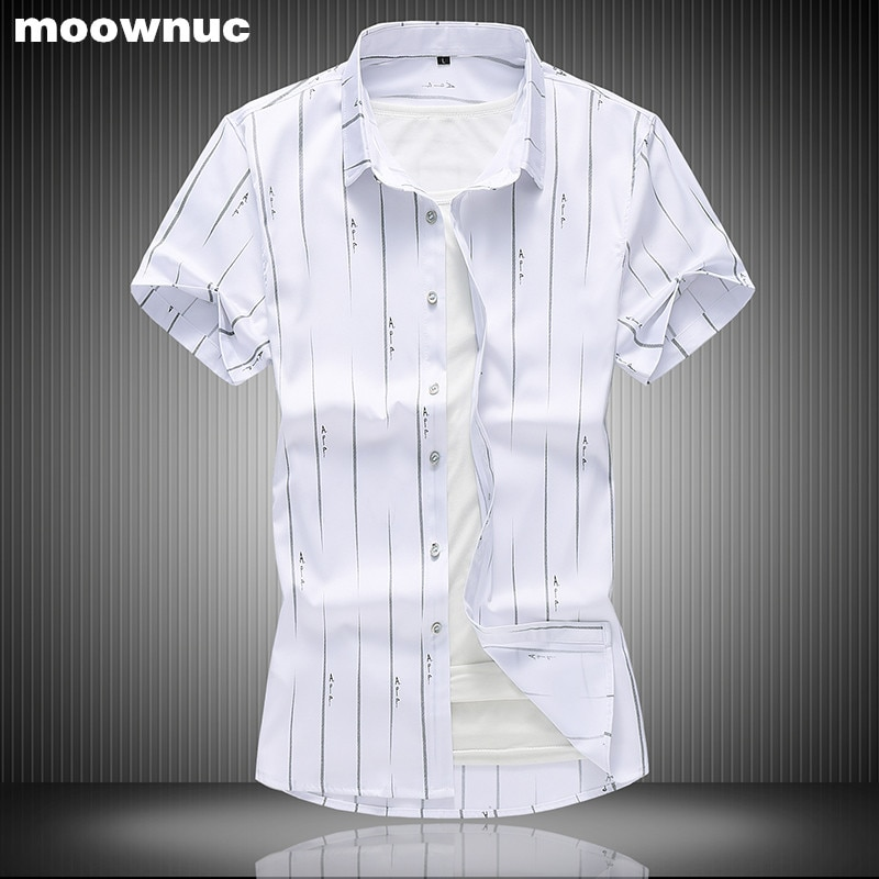 Verão 2019 dos homens da listra camisas Moda camisa de manga Curta dos homens casual Big yards Imprimiram a camisa 3 cor opcional full size M-7XL