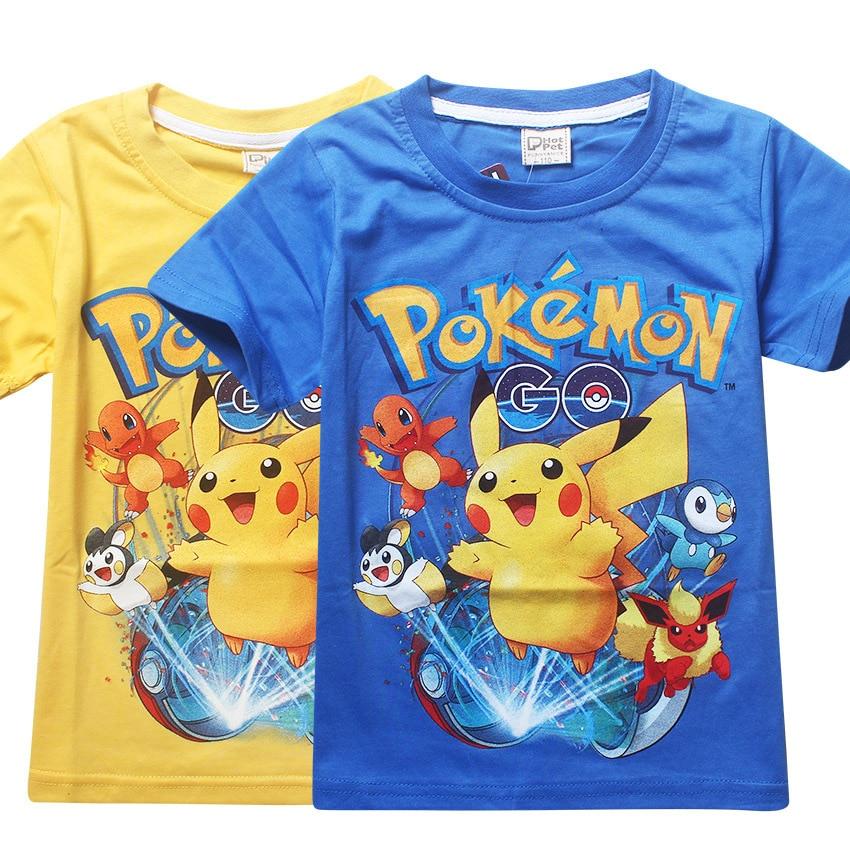 Nuevas camisetas de algodón puro de verano para niños, camisetas de dibujos animados de Pokemon Go shorts, camisetas pikachu, camiseta de manga corta para niños y niñas