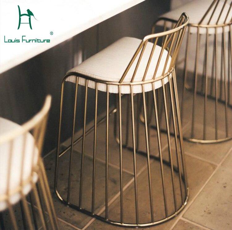 Золотистый Железный барный стул Louis Fashion скандинавский креативный открытый