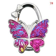 1Pcs Metal Portable Colorful Butterfly Pattern Fashion Wallet Hooks Alloy Purse Handbag Bag Unique Folding Hanger Hook Holder