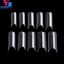 Nouveau 500 pièces ongles clairs haute qualité ongles en plastique forme C Faux Ongle français Manucure moyenne ongles double forme système dongle Kit