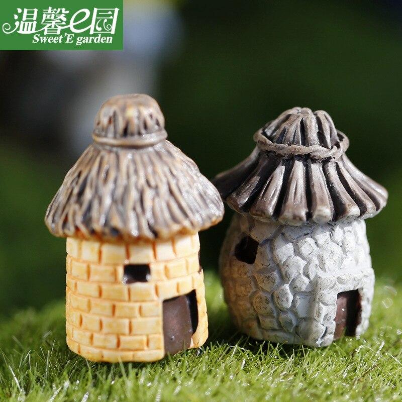 Casa de expresión casa de paja cabaña DIY montado pequeños adornos microadornos para paisajismo decoración de resina para jardín