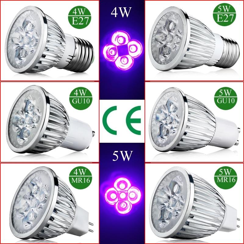 1pcs  High Quality plant Light 4W 5W E27 GU10 AC 85-265V UV LED Ultraviolet 395-400nm Spotlight Lamp Bulb MR16 12V Violet Light
