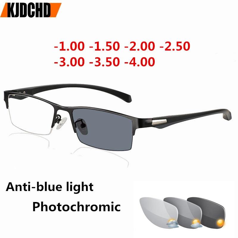 Anti-luz azul fotocrómica miopía anteojos de gafas de ojos para hombres mujeres prescripción miopía gafas acabadas-1-1,5-2-2,5-3-3,5-4,0