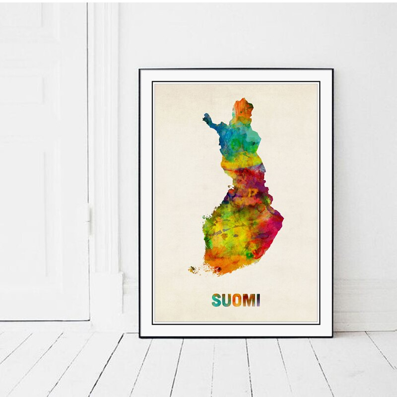 Póster Artístico impreso en lienzo con mapa moderno de Finlandia, cuadro de pared para decoración de sala de estar, cuadro decorativo SUOMI Hogar