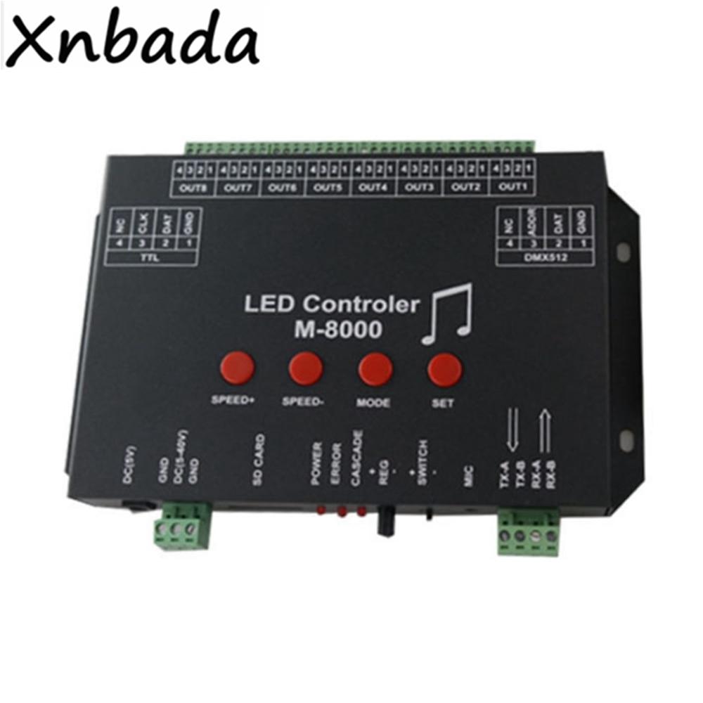 M-8000 Programable 8096Piexl Led Music Controller For WS2812B WS2812 SK6812 Led Strip Light Tape DC5V Input