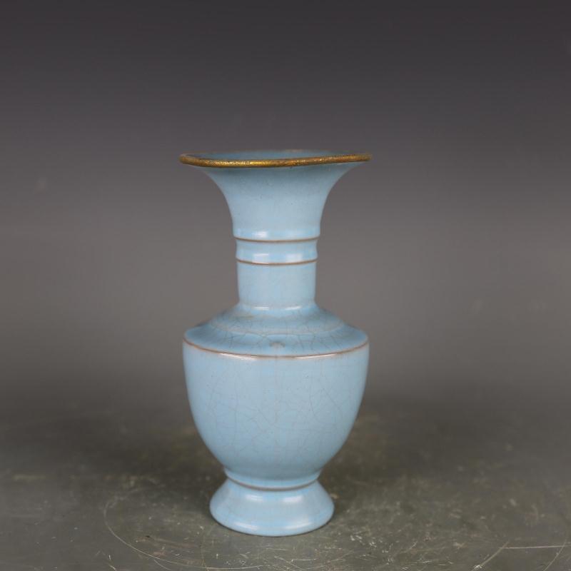 Антикварная фарфоровая ваза Songynasty, упаковка для печи, Золотая небесно-голубая стеклянная бутылка, украшение для дома, ручная работа, поделк...