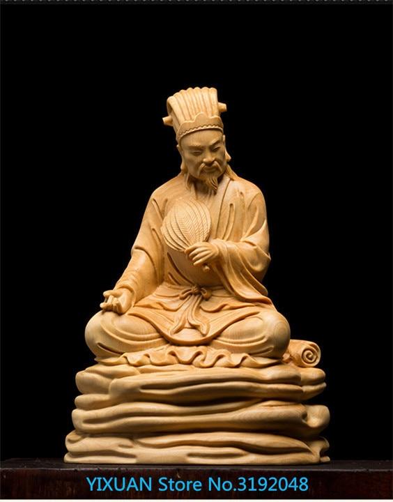 Tallado de boj, madera sólida creativa, sala de estar, decoración del coche, tallado, artesanía, personas, Zhu Geliang, retrato.