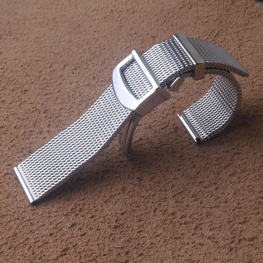 Correa de reloj de malla milanesa de acero inoxidable de 20mm y 22mm, pulsera plateada, hebilla plegable, moda para pulseras de lujo, novedad