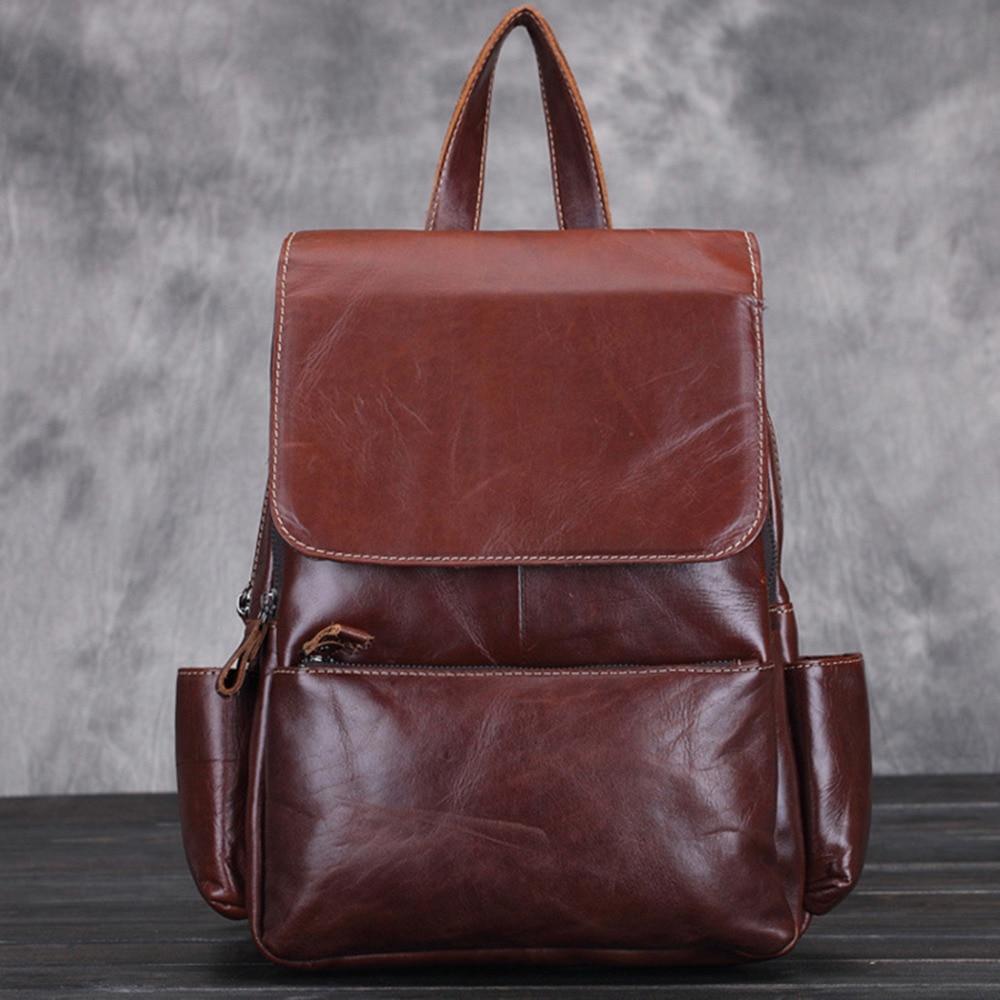 Винтажный рюкзак из натуральной воловьей кожи, женский рюкзак большой вместимости, изысканный Рюкзак из вощеной кожи высокого качества