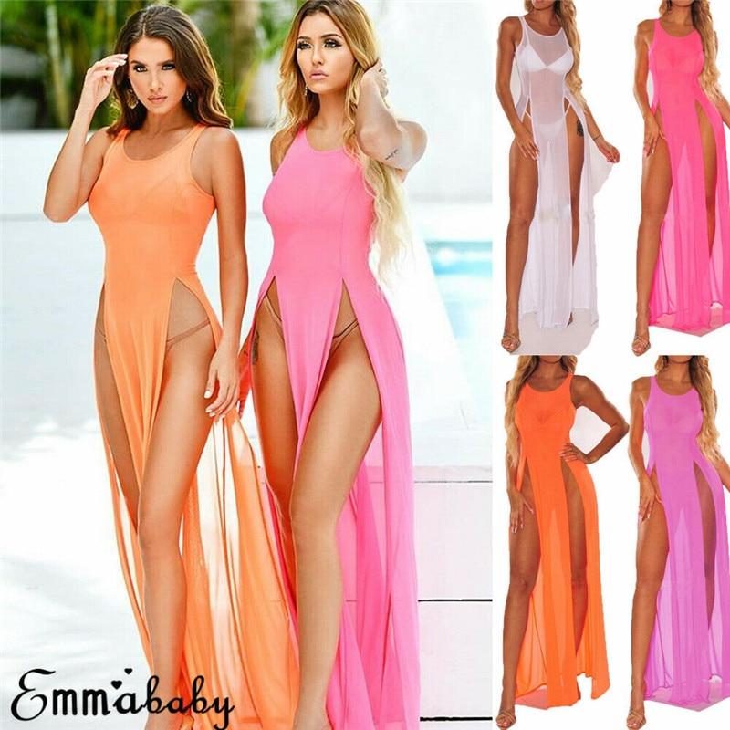 Vestido largo de noche para mujer, estilo Casual, suelto y monocolor, bohemio, para fiestas y playa, vestido dividido para el verano